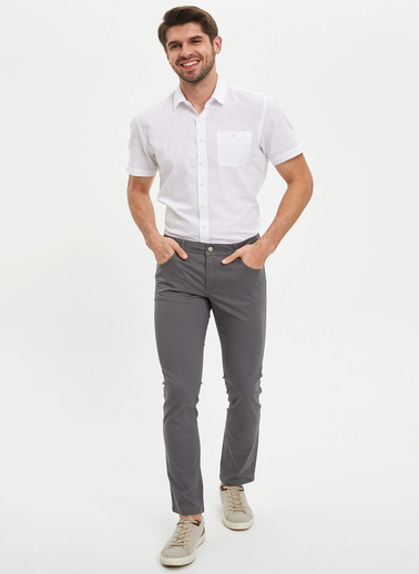 DeFacto Regular Fit Tek Cepli Gömlek Beyaz